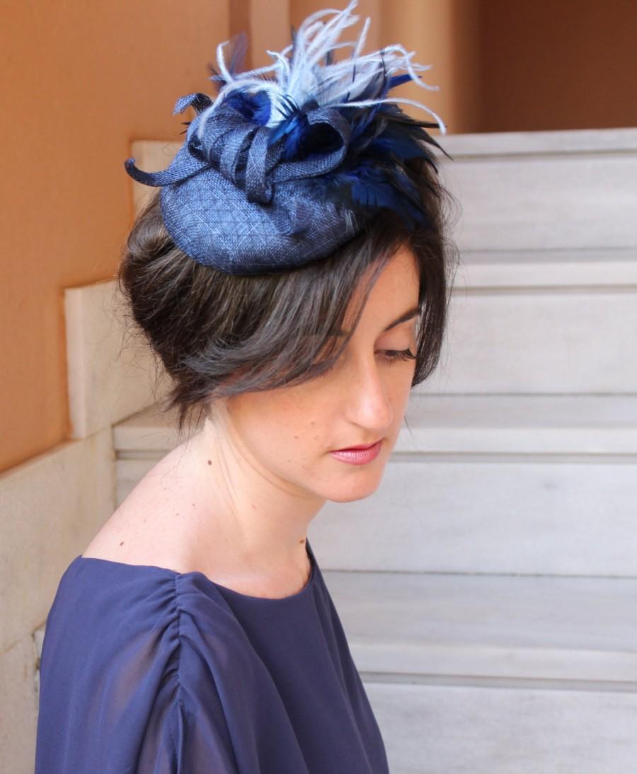 Mariage - Navy Blue Fascinator Hat,Navy blue hat, Tea party hat,Cocktail hat,Round hat,Wedding Fascinator Hat,
