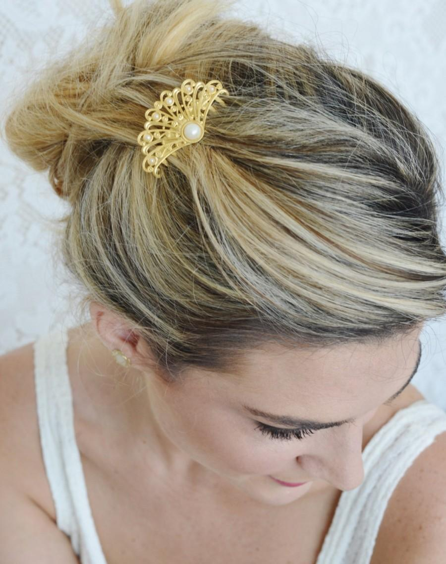 Mariage - Gold Hair Comb - Pearl hair comb - Bridal Hair Accessories - Gold fan hair comb - Wedding Hair Jewelry - Wedding Head Piece - Gold filigree