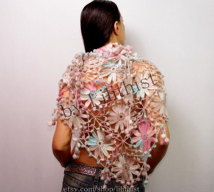 Mariage - Shawl Wrap, Lace Shawl, Pastel Pink Blue Ivory Flower Shawl, Boho Chic Crochet Shawl,  Bridal Shrug Bolero Romantic Wedding Shawl Cover Up