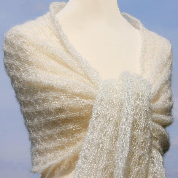 Свадьба - Bridal shawl, cream wedding shawl, wedding stole, wedding wrap,knitted scarf, wrap, kid-mohair / silk, lace, ivory, creamwhite