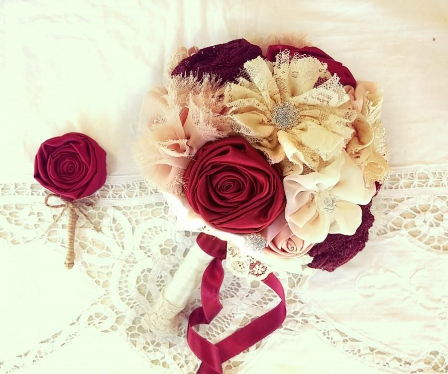 زفاف - Red wedding bouquet, burgundy bridal bouquet, lace bouquet, vintage bouquet, blush wine bouquet