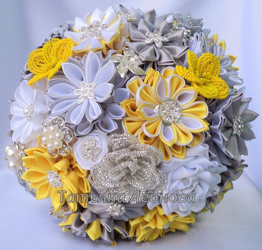 """Mariage - Fabric Wedding Bouquet, brooch bouquet """"Chic"""", Yellow, Silver and White, 9"""""""