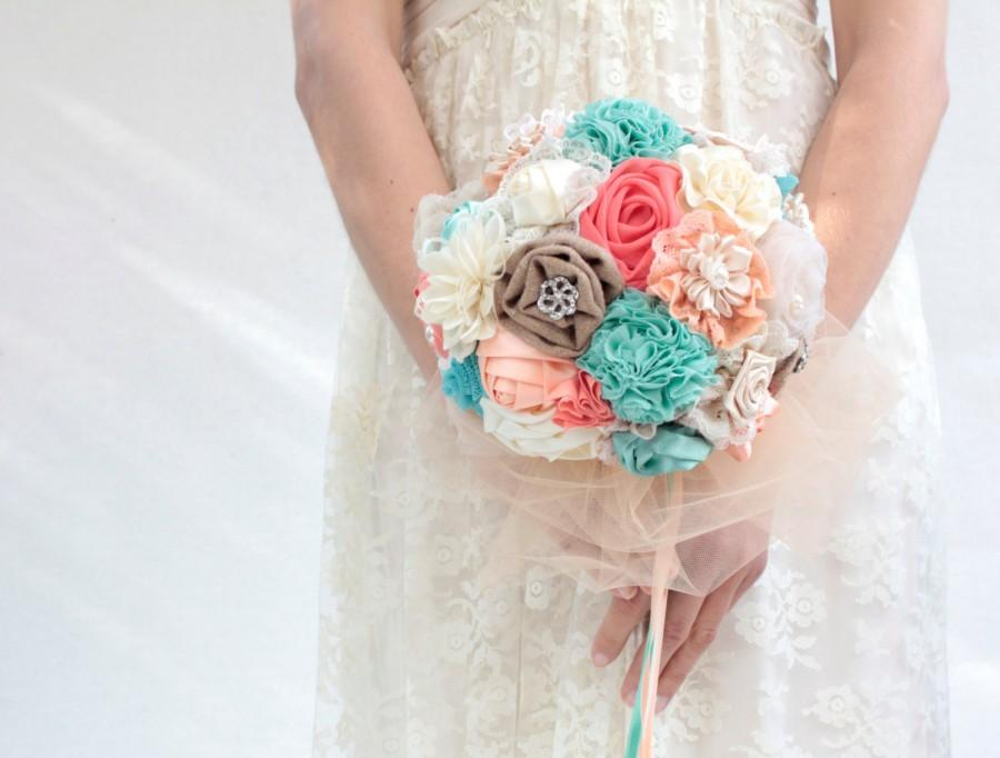 Mariage - Coral aqua  wedding bouquet,  bridal bouquet, fabric flowers bouuqet DEPOSIT