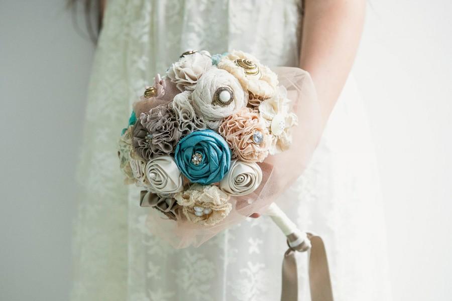 Hochzeit - Teal ivory bouquet, bridal bouquet, fabric flowers bouquet