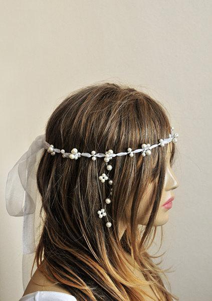 Mariage - wedding ribbon pearl headband, bridal hairaccessory, weddding accessories, handmade, etsy, wire hairpin, bride, boho wedding, headpiece