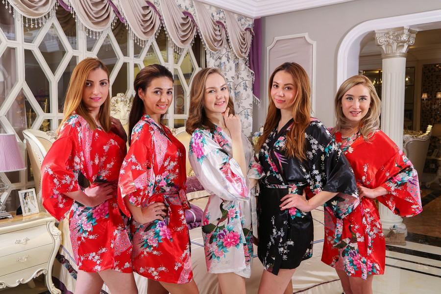 32df758463d2 Satin1 Kimono Robe Satin Japanese Kimono Bathrobe Women Dress Gown Bridal  Party Gift Robe Baby Shower Gift Bathrobes Women Luxury Spa Robes