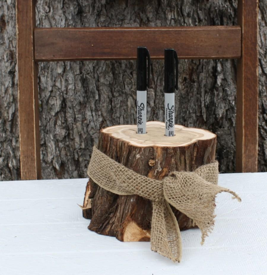Rustic Wedding Decor, Pen Or Marker Holder, Tree Stump, 2 Holes ...