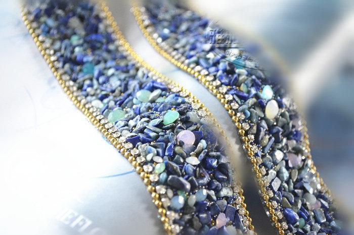 Mariage - Luxury rhinestone trim , bridal wedding belt trim, crystal beaded trim
