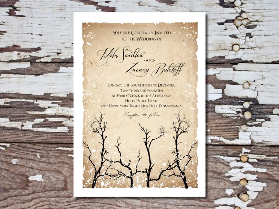 زفاف - Wedding Invitation Printable- Rustic Winter Wedding Invitation Suite