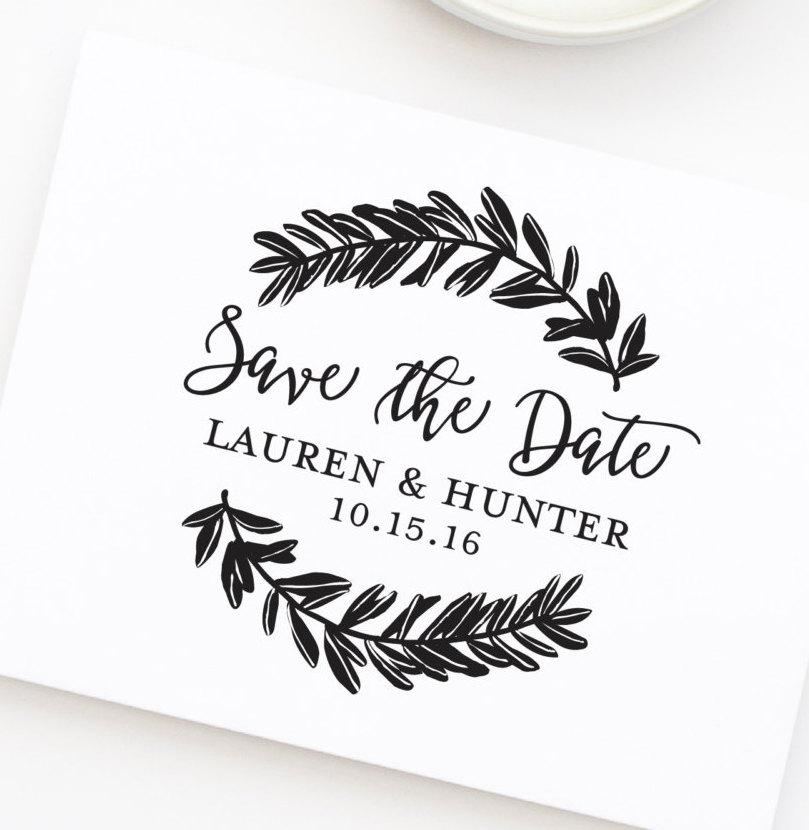 save the date stamp wedding stamp with wreath save the dates