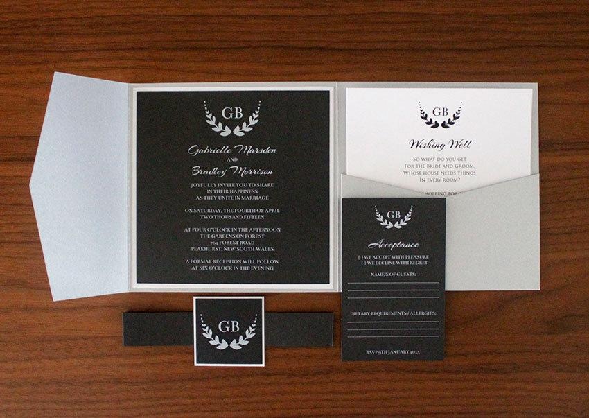 Wedding - Harlow Invitation SAMPLE - Pocket Silver Black White Wedding Invitation