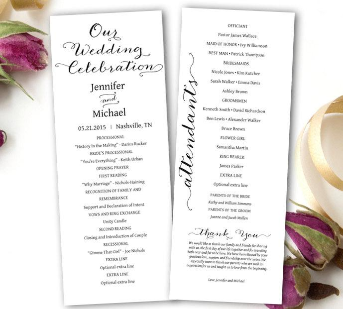 Wedding Program Printable Wedding Program Template Tea Length - Photoshop wedding program template