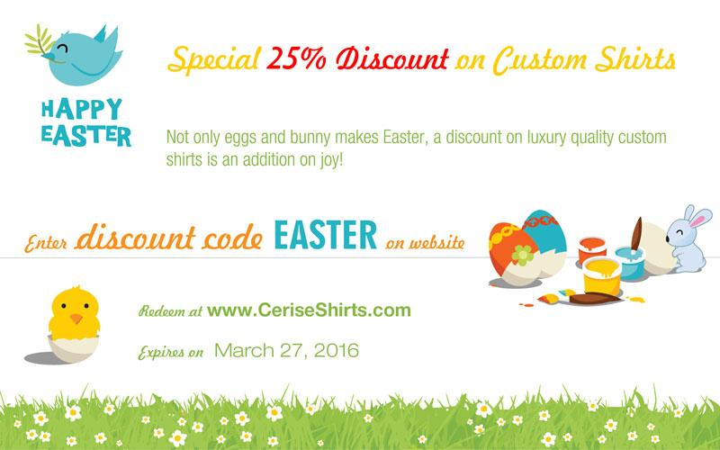 Mariage - Easter Special Sale - Save 20% on Custom Shirts.