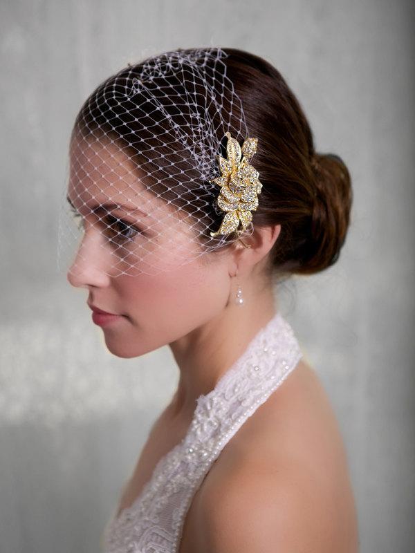 d93f3f1f Bridal Veil and Gold Bridal Comb, Bandeau Birdcage Veil, Gold Blusher Bird  Cage Veil - QUICK SHIPPER Gold Crystal Fascinator Comb