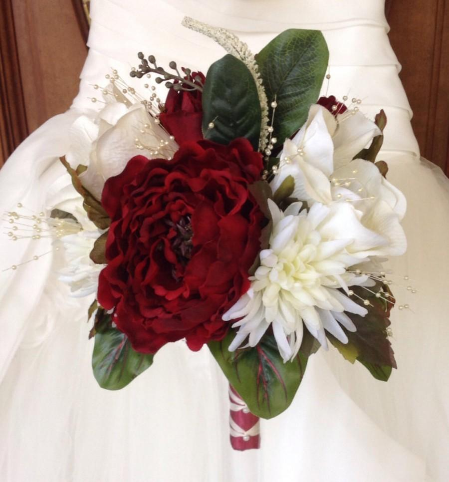 Bridal Bouquet, Winter Wedding Bouquet, Red And White Bouquet, Red ...
