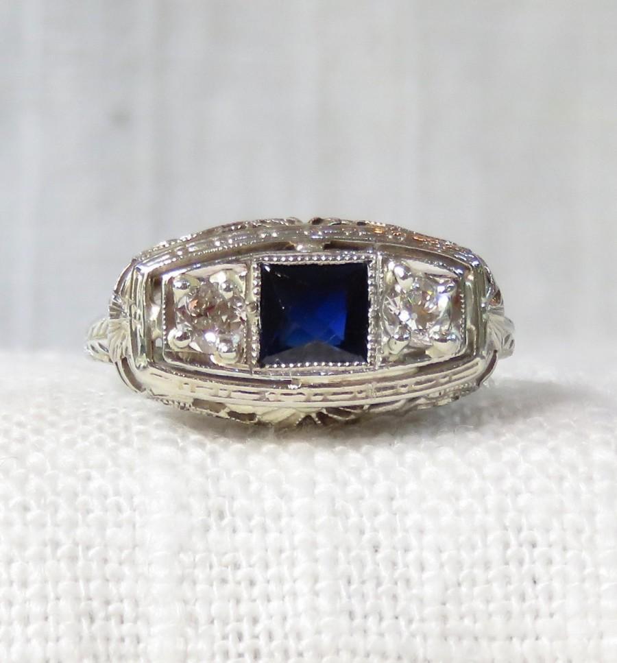 زفاف - Art Deco 14k Diamond and Sapphire Engagement Ring