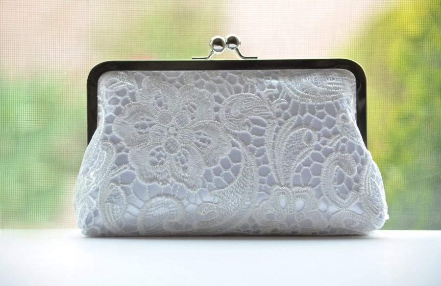 SALE Silk Lace Clutch - White On White - Ivory Lace Clutch - Bridal Bridesmaid Wedding Clutch ...