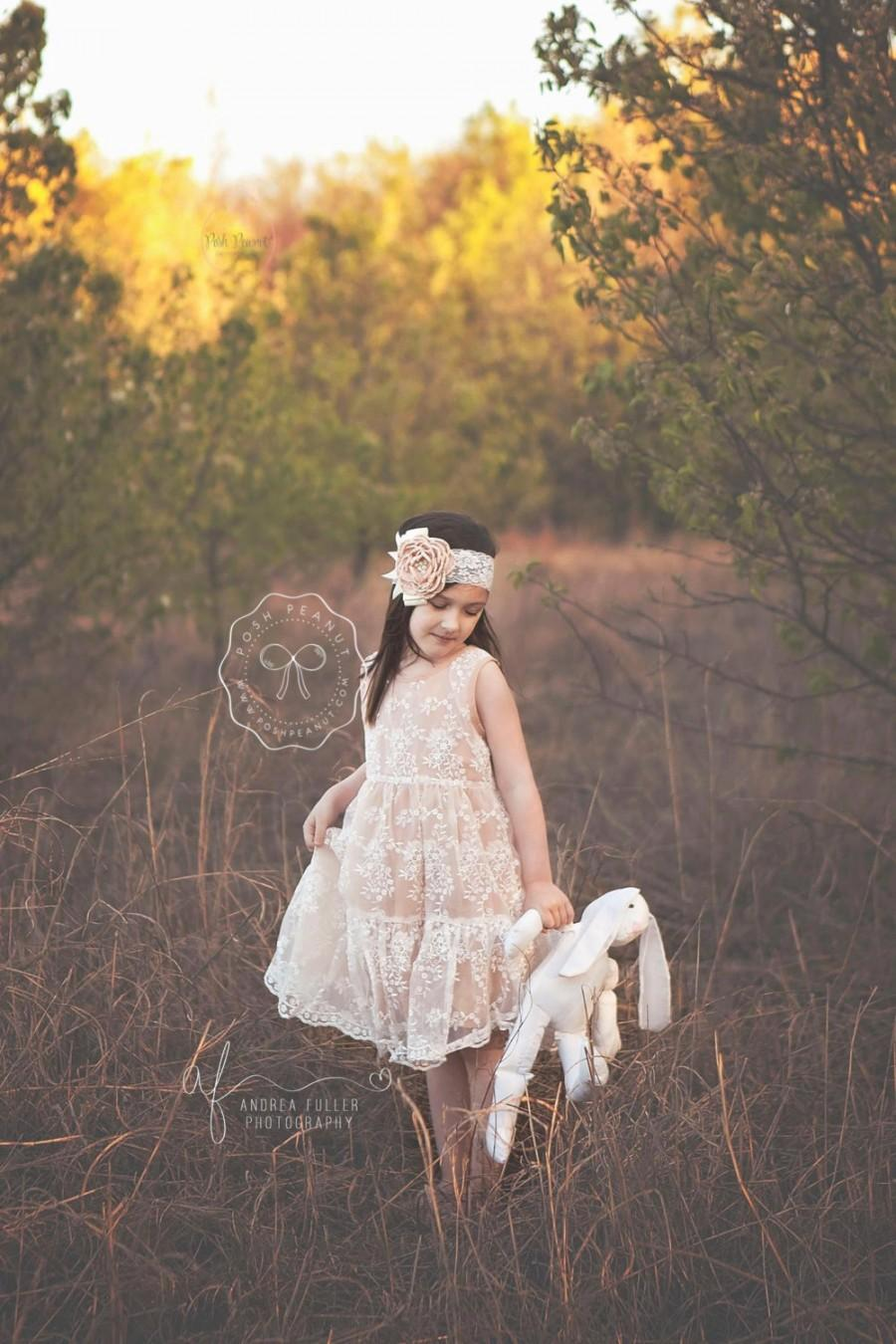 Mariage - Rustic flower girl dress, flower girl dresses, Flower girl dress, champagne lace dress, baby dress, girl dress, flower girl, girl dresses