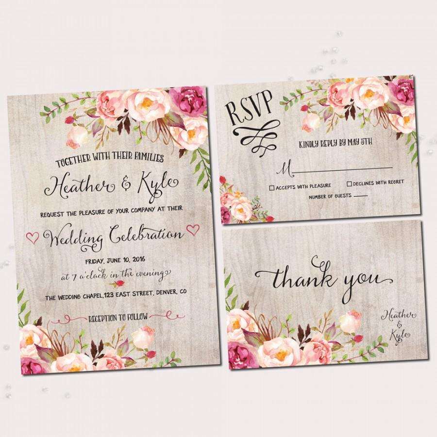 Rustic Wedding Invitations. Printable Wedding Invitation Set ...
