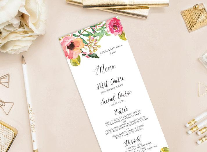 isabella printable wedding menu diy card watercolor floral menu