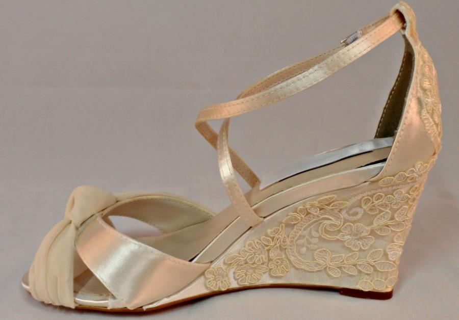 pearl and lace bridal wedge vintage lace wedding wedge three inch heel ivory wedding shoes ivory wedge bespoke custom wedge garden heels
