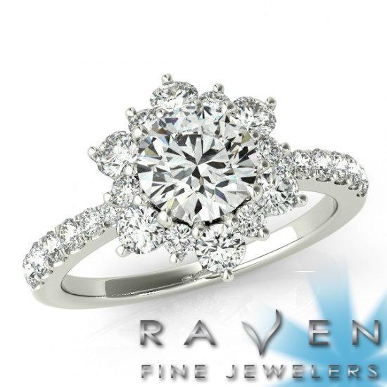 زفاف - 1 Carat Flower Lotus Halo Diamond Engagement Ring - Flower Rings by Raven Fine Jewelers
