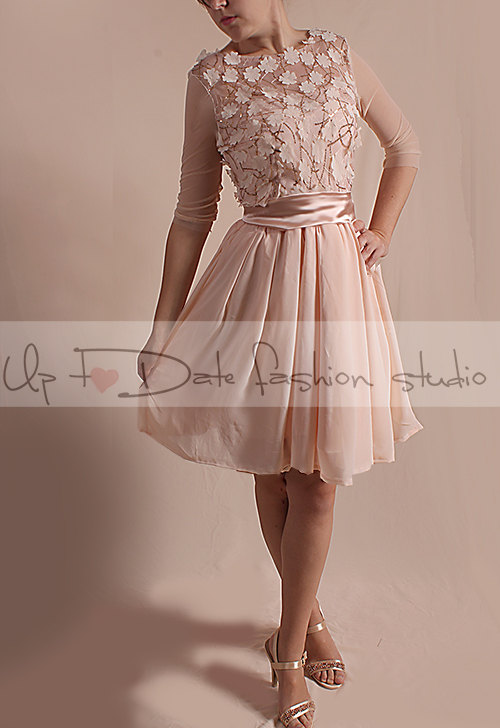 Düğün - Short  romantic lace/3D Chiffon Flower Fabric whith Sequins  /dress /3/4 tulle  sleeves