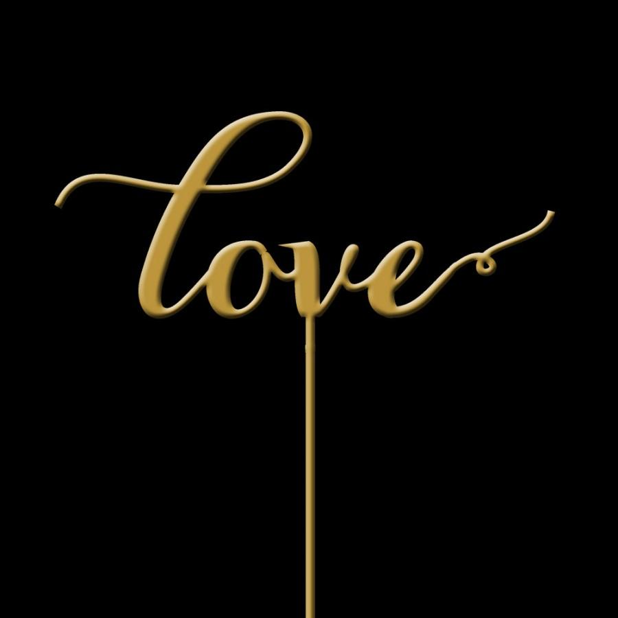 Hochzeit - Love -  Cake Topper - Wedding Cake Topper -  Gold Cake Topper