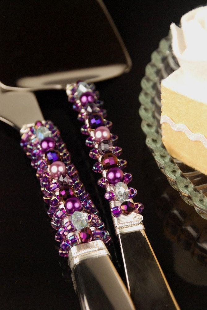 Wedding - Vivid purple crystal wedding cake server set handmade beaded crystal- Made to order