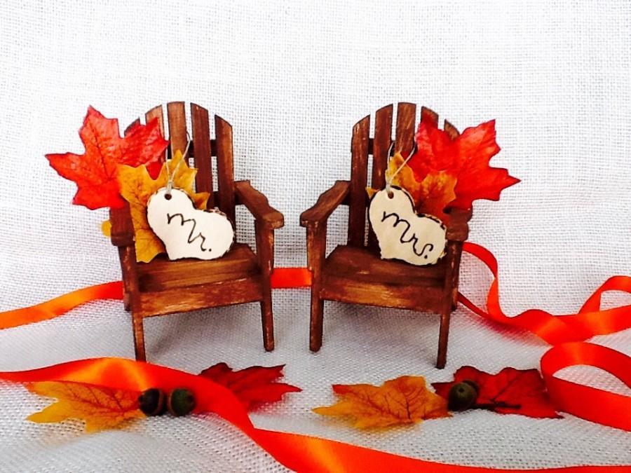 زفاف - Adirondack Cake Topper- Fall Wedding  Chairs Fall Leaves Cake Topper Centerpiece/Mr and Mrs/WoodlandAnniversary/Autumn//autumn