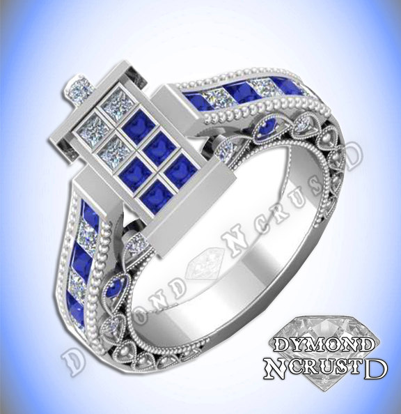 Doctor Who Inspired Tardis Blue Sapphire Swarovski Diamond