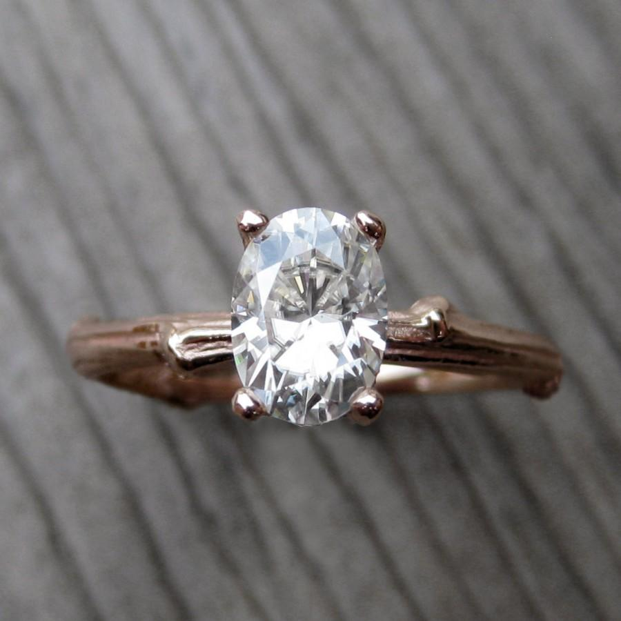Mariage - Oval Moissanite Twig Engagement Ring: Rose, White, Yellow Gold; 7x5mm Forever Brilliant™