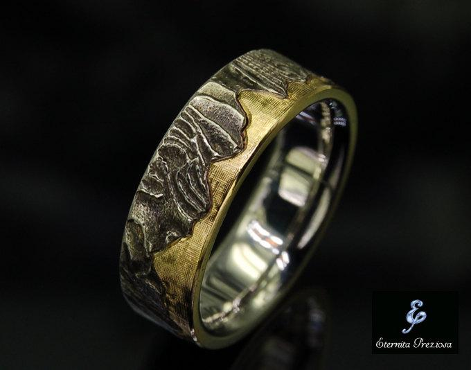 Mariage - 18K Gold Wedding Band, Unique Mens Ring, Rustic Wedding Ring, Unique Engagement Ring, Mens Engagement Ring, Anniversary Ring , Men's Ring