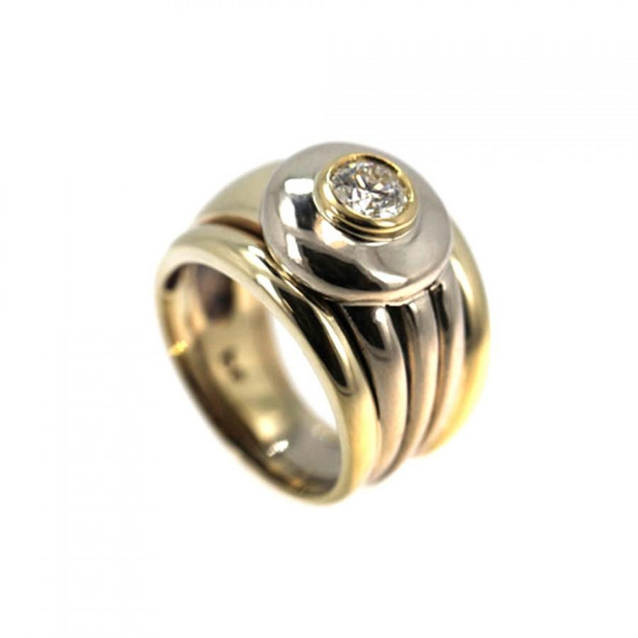 Mariage - Yellow and White Gold Bezel Set Diamond Ring Byzantine Style Two Tone Ring Symbol of love .5 ct.