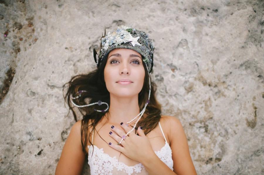Свадьба - custom luxe bridal crown, mermaid bridal crown, boho bridal crown, lavender bridal crown, feather crown, lavender crown, dried flower crown