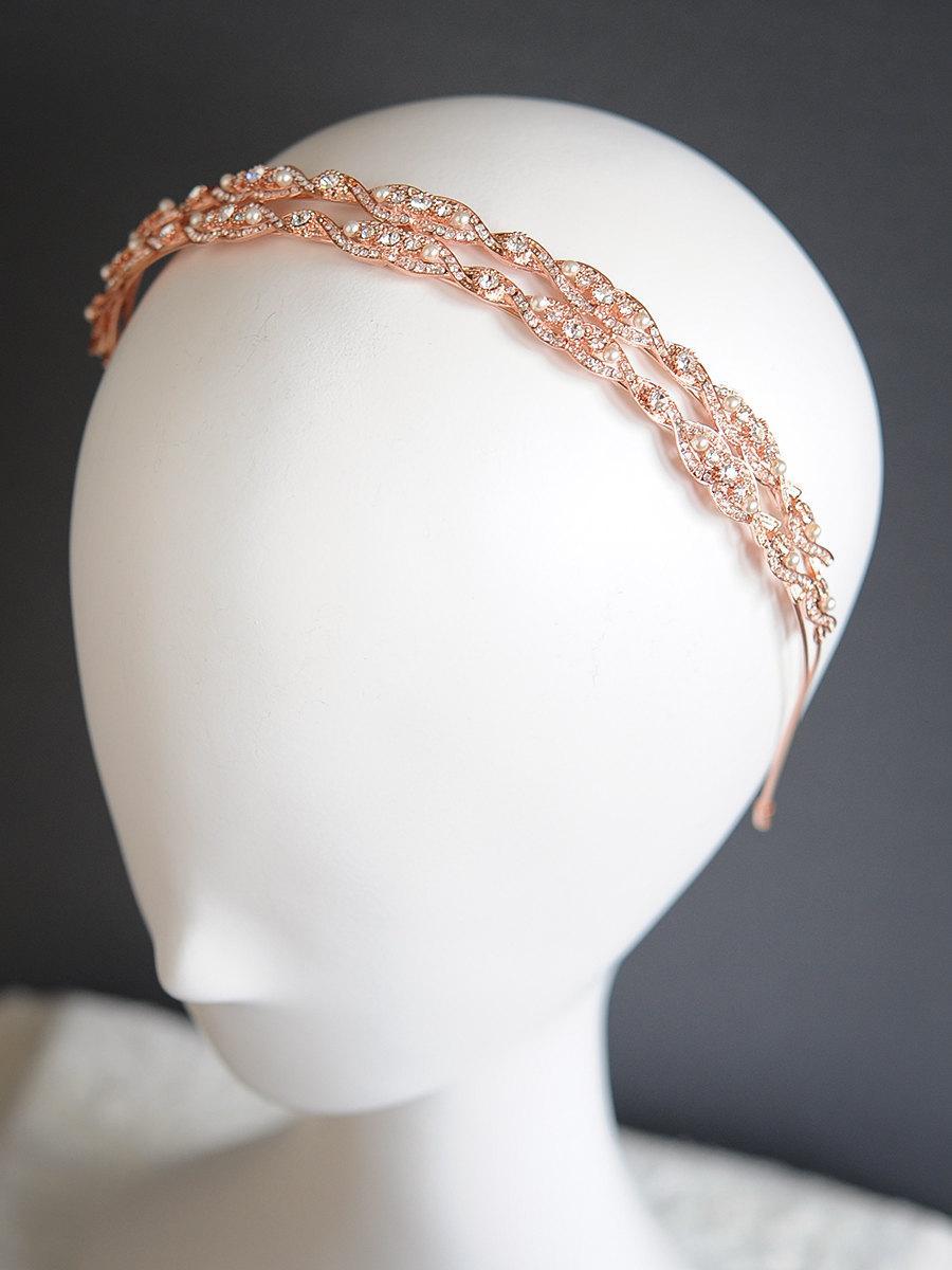 Mariage - Vintage Style Rose Gold Wedding Headband, Oval Rhinestone Bridal Headband, Swarovski Pearl Hair Accessories, Bridal Tiara Crown, GABRIELLE