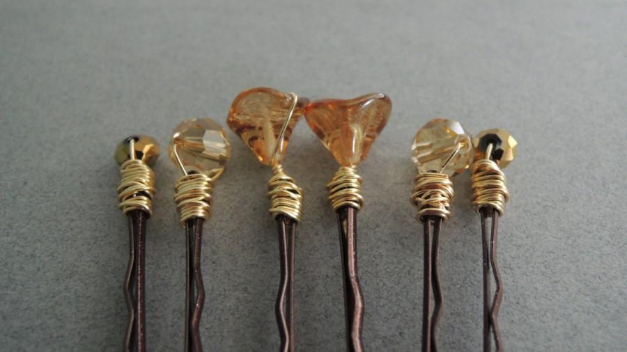 Hochzeit - Golden Glass Flower Hair Pins Set Gold Decorative Bobby Pins Set Gold Flower Hair Pins Brides Wedding Accessory Gold Glass Bead Bobby Pins