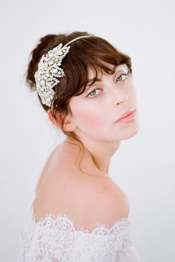 Wedding - Tira  Swarovski Crystal Headband  Silver Bridal Headpiece  Wedding