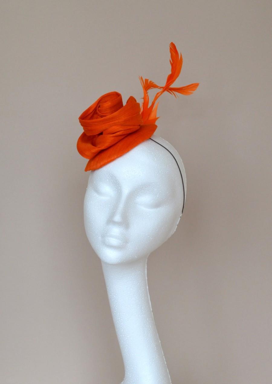 Small orange silk hat. Orange fascinator. Orange wedding hat. Orange flower  hat. Handmade silk hat. Derby hat. Ascot hat. 265fe5a7855