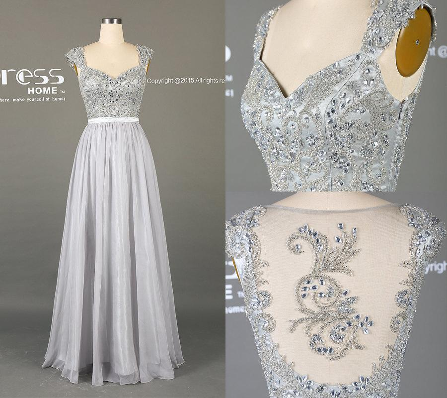 Mariage - 2016 Silver Grey Long Lace Prom Dress/A Line Chiffon Prom Dress/Silver Beading Prom Dresses/Grey Wedding Party Dress/Reception Dress DH195