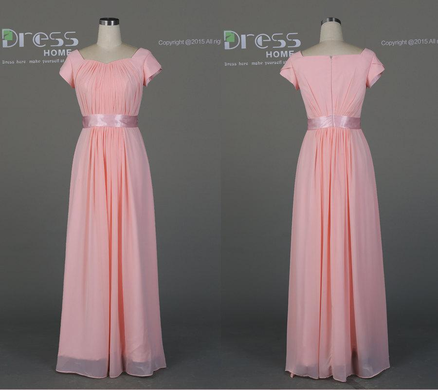 Simple Pink A Line Prom Dresses Long/Chiffon Short Sleeves Prom ...