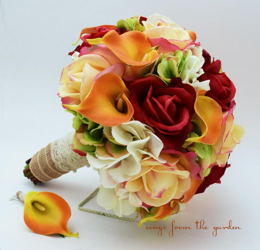 Hochzeit - Autumn Wedding Bridal Bouquet Groom's Boutonniere Confetti Red Real Touch Roses Calla LilyFall Color Bouquet