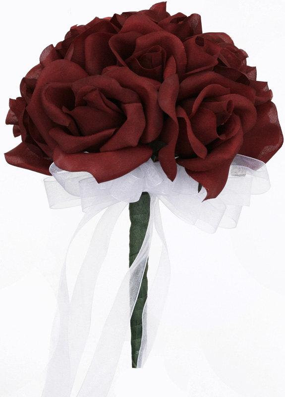 Mariage - Burgundy Silk Rose Toss Bouquet - Bridal Wedding Bouquet
