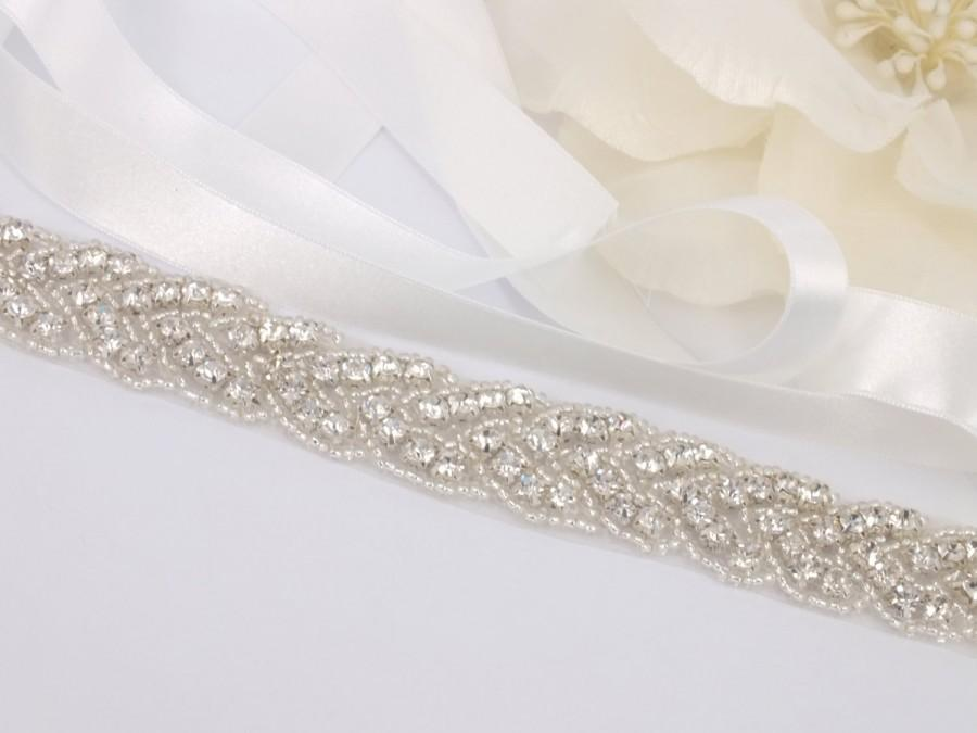 زفاف - Barbara - Vintage Style Rhinestone Bridal Belt, Sash