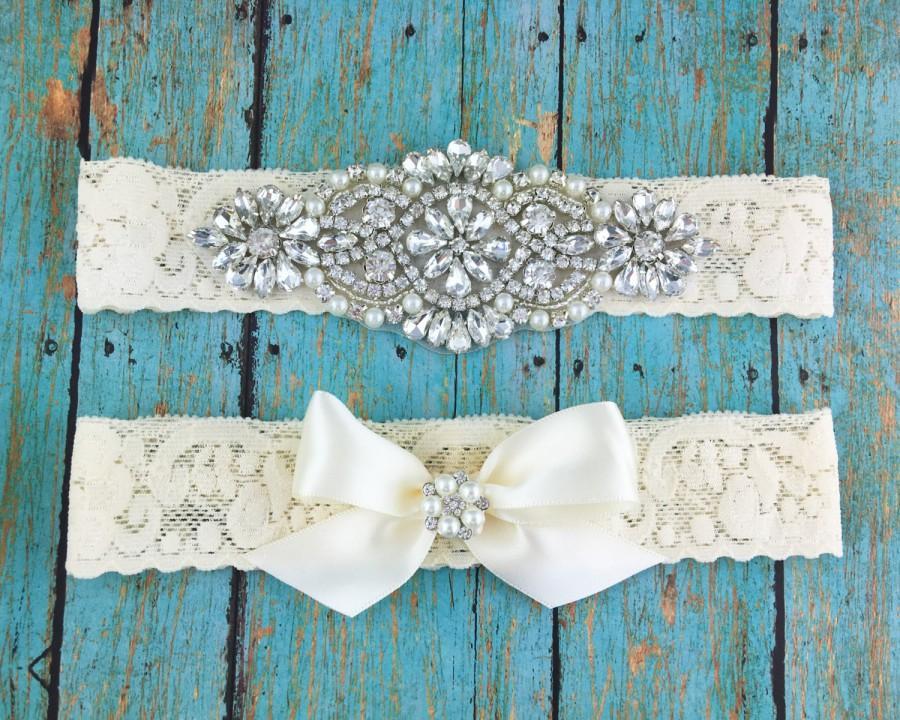زفاف - Bridal Garter Set, Wedding Garter Lace, Wedding Toss Garter Set, Lace Rhinestone Garter Set, Rustic Garter Set, Ivory Bridal Garter 567