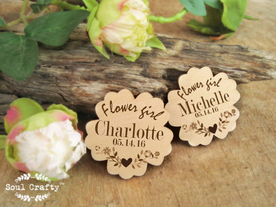 Personalized Flower Girl Badges Cute Flower Pin Wedding Gift