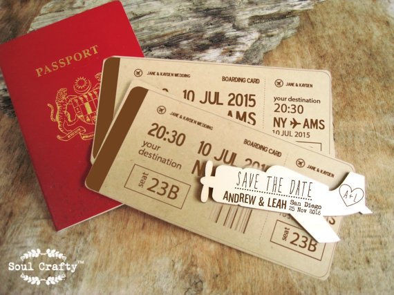 Save The Date Wooden Vintage Airplane Fridge Magnet Engraved