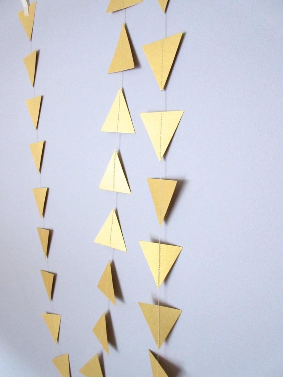 Свадьба - Geometric Garland, Triangle Garland, Gold Tribal Garland, Gold Garland, Gold Nursery Decor, Gold Wedding Party Decorations, Gold Banner
