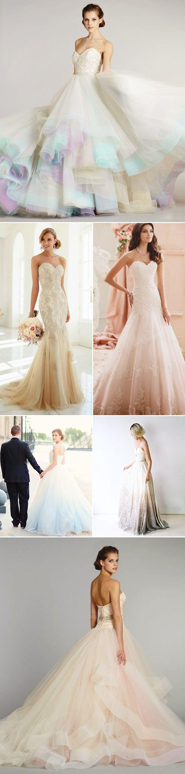 """Свадьба - Most Romantic Bridal Trend! 22 """"Barely Colorful"""" Wedding Dresses With A Touch Of Color! - Praise Wedding"""