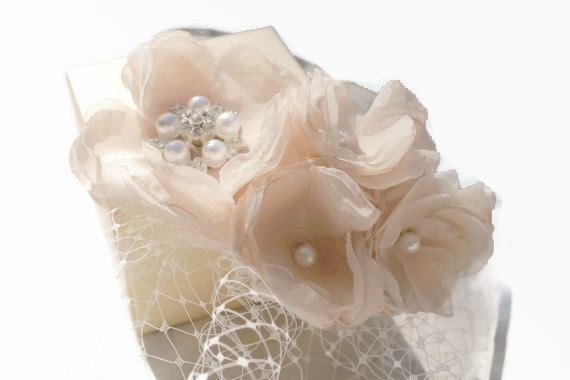 Mariage - Bridal French Netting Birdcage Blusher Veil  Russian Netting Headband with Blush Flowers Rhinestone Brooch and Pearls